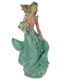 Статуэтка Девушка с цветами, фарфор 36см