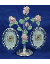 Фоторамка Букет роз на 2 фото 18*9*20см