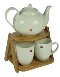 Подарочный чайный набор на бамбуковой подставке на 4 персоны