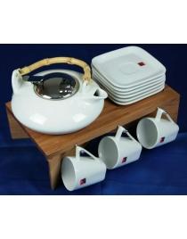 Подарочный чайный набор на бамбуковой подставке на 6 персон 23*26*17см