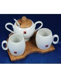 Подарочный чайный набор на бамбуковой подставке на 2 персоны 16*19*13см