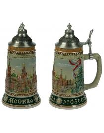 Пивная кружка коллекционная с крышкой Москва 19см, 950мл