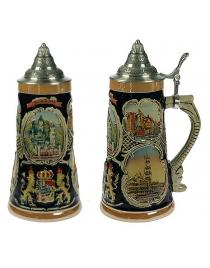 Пивная кружка коллекционная с крышкой Замки Баварии 22см, 900мл