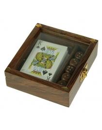 Подарочный набор игр: игральные карты, кости 13*12см