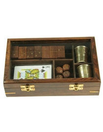 Подарочный набор игр: домино, игральные карты, кости, 2 стаканчика 22*14*5см