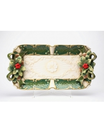 Блюдо прямоугольное 'Изумрудное Рождество'