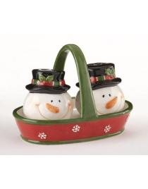 Набор для специй 'Снеговики в корзинке' керамика 9 см