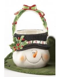 Корзинка для конфет и печения 'Снеговик' 22см
