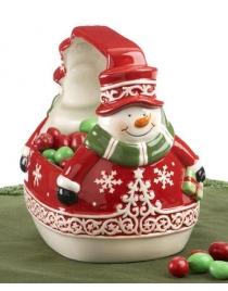 Корзинка для конфет и печения Снеговик Керамика 16см
