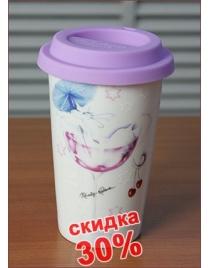 Кружка для чая/кофе Кошечка с двойными стенками и крышкой