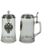 Пивная кружка коллекционная Герб с крышкой (стекло, олово 95)