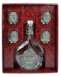Подарочный набор для водки (олово 95%, стекло) 22см