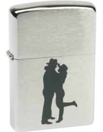 Зажигалка ZIPPO Cowboy Couple Brushed Chrome, латунь с никеле-хромовым покрытием, цвет серебристый, матовая с нанесением, 56х36х