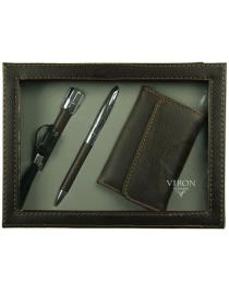 Подарочный набор Viron: авторучка, визитница, фонарик 15*21*4см