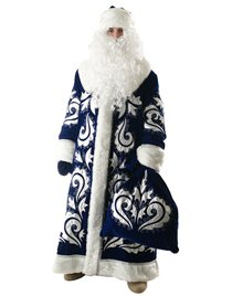 Карнавальный костюм Деда Мороза синий Боярский бархат с вышивкой Н51-БВС