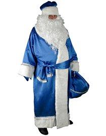 Карнавальный костюм Дед Мороз синий креп-сатин Н25-КСС