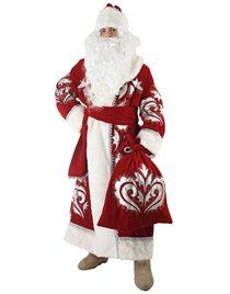 Карнавальный костюм Деда Мороза бархат с вышивкой Н28-БВШ