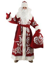 Карнавальный костюм Деда Мороза Боярский бархат с вышивкой Н51-БВШ
