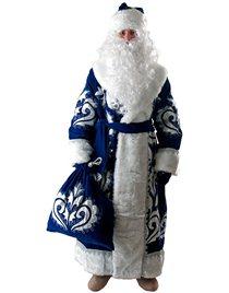 Карнавальный костюм Деда Мороза синий бархат с вышивкой Н28-БВС
