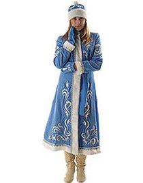 Карнавальный костюм Снегурочка бархат с вышивкой длинная приталенная Н131-БВШ