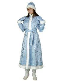 Карнавальный костюм Снегурочка длинная приталенная портьера голубая Н131-ПГ