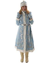 Карнавальный костюм Снегурочка креп-сатин с вышивкой длинная приталенная Н131-КВШ